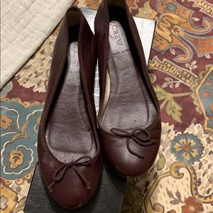 J.Crew classic leather ballet flats warm carob